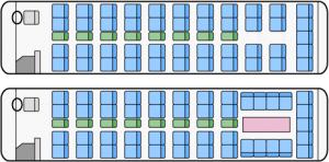 大型ハイデッカー(サロンカー)座席図